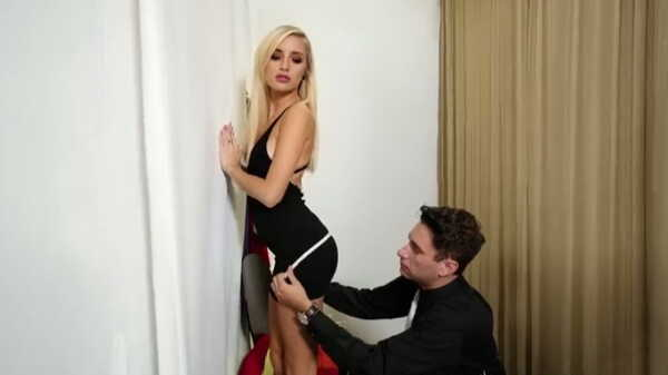 Sex video A clothing salesman fucks a blonde in a fitting room.