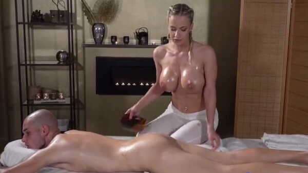 Blonde with big tits did a massage.