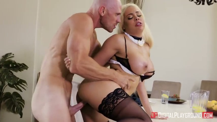 Fucked housekeeper Luna Star right on the table.