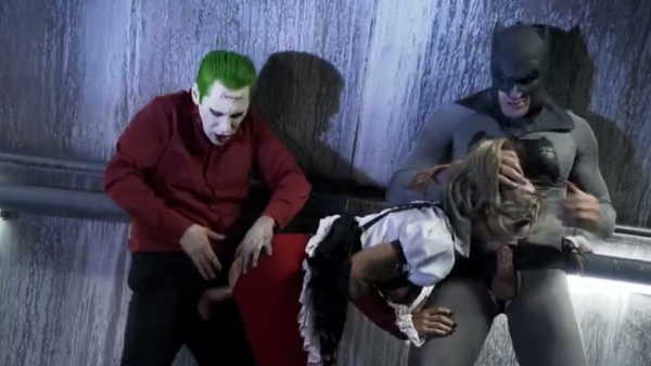 Porn video Harley Quinn is having fun with Joker and Batman.