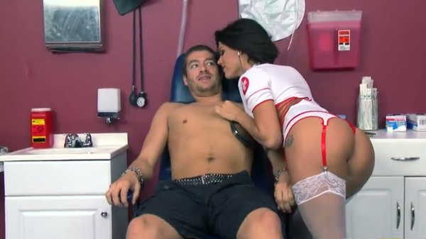 Porn video Sexy nurse listens to the heartbeat. Peta Jensen