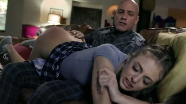 Stepfather spanked his stepdaughter in the ass.