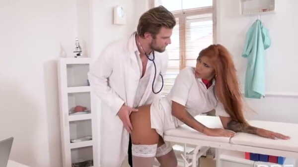 The doctor spanked the lustful nurse.