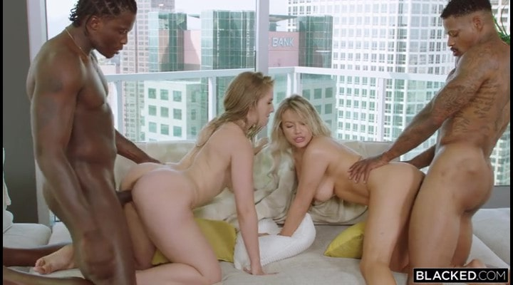Two depraved blondes against two big black dicks.