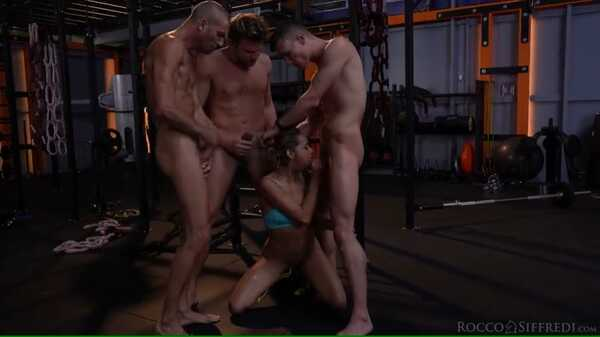 Porn video Veronica Leal gets fucked by three men in the gym. Veronica Leal